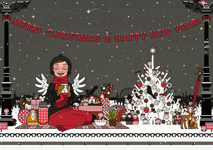 Zeichnung von einem Mädchen, das glücklich im Schnee im Park picknickt, umgeben von einem mit Meisenknödeln geschmückten Weihnachtsbaum und vielen Weihnachtsgeschenken, für Lily Lux von Iris Luckhaus