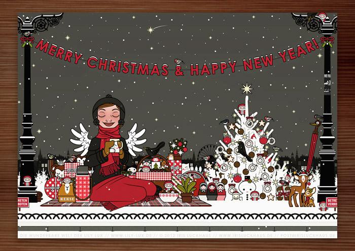 Weihnachtskarte mit der Zeichnung von einem Mädchen, das glücklich im Schnee im Park picknickt, umgeben von einem mit Meisenknödeln geschmückten Weihnachtsbaum und vielen Weihnachtsgeschenken, für Lily Lux