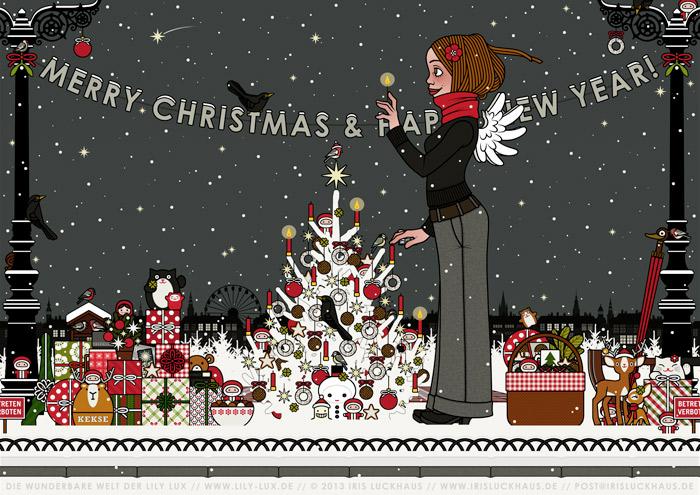 Zeichnung von einem Mädchen mit Engelsflügeln, das im Schnee im winterlichen Park Geschenke verteilt und einen Weihnachtsbaum mit Meisenknödeln geschmückt hat und nun die Kerzen anzündet, für Lily Lux von Iris Luckhaus
