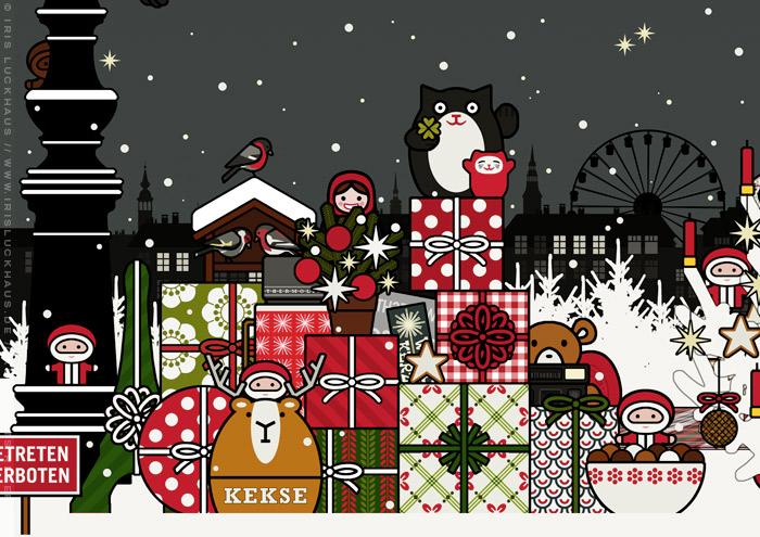 Ausschnitt aus der Zeichnung von einem Mädchen mit Engelsflügeln, das im Schnee im winterlichen Park Geschenke verteilt und einen Weihnachtsbaum mit Meisenknödeln geschmückt hat und nun die Kerzen anzündet, für Lily Lux
