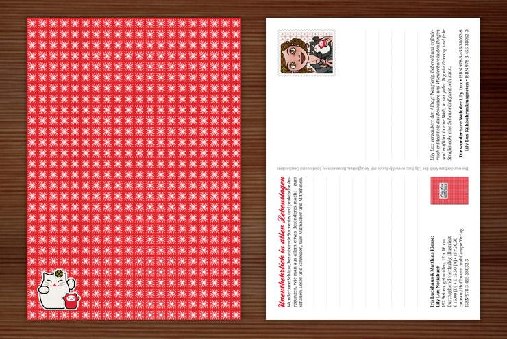 Vorder- und Rückseite der Postkarte zur Werbung für das Lily Lux Notizbuch im roten Sternenmuster und mit Winkekatzen Aufklebern