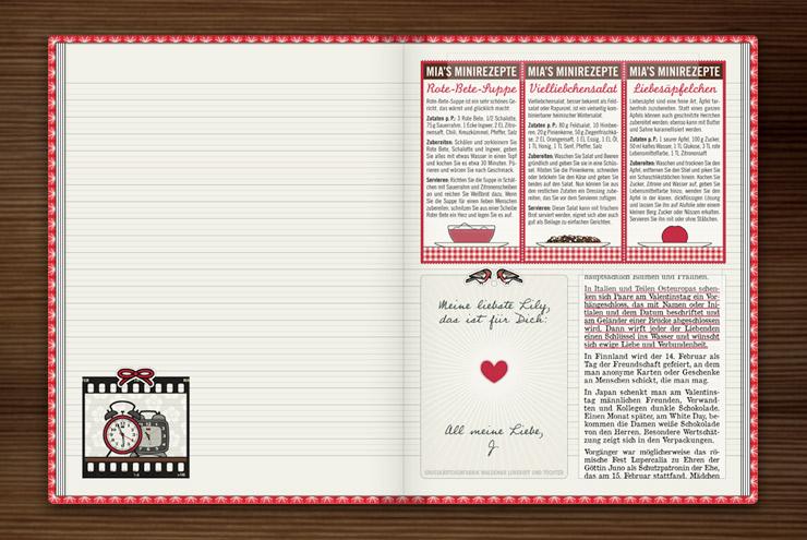 Rezepte zum Valentinstag für Verliebte wie Rote-Bete-Suppe mit Herz, Vielliebchensalat oder Liebesäpfel im Lily Lux Notizbuch