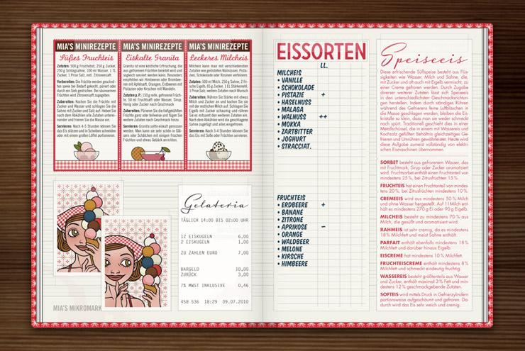 Rezepte für köstliche Eiscreme wie süßes Fruchteis, eiskalte Granita und leckeres Milcheis im Lily Lux Notizbuch