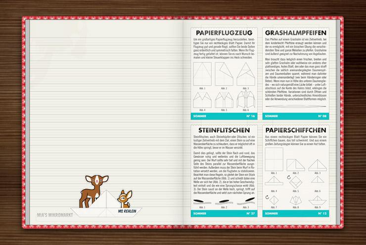 Anleitung zum Basteln von Papierschiffchen und Papierflugzeug, Steineflitschen und Grashalmpfeifen, im Buch Lily Lux Notizbuch von Iris Luckhaus und Matthias Klesse