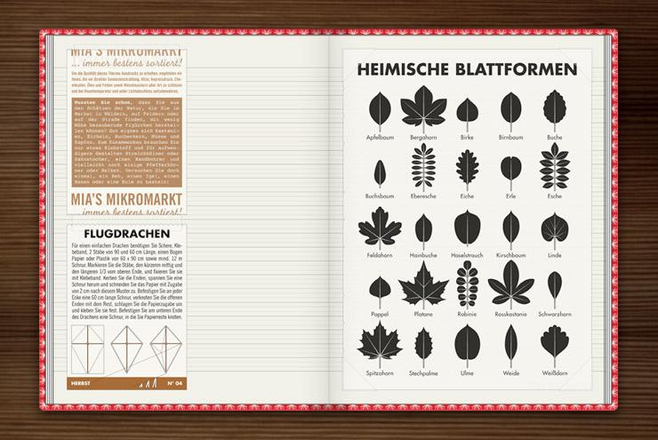 Infografik zur Bestimmung heimischer Blattformen und der Blätter von Bäumen im Buch Lily Lux Notizbuch