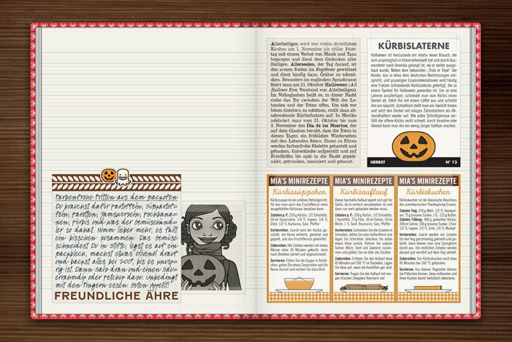 Rezepte für den Herbst, Allerheiligen und Halloween mit Kürbis, Kürbissuppe, Kürbisauflauf und Kürbiskuchen im Lily Lux Notizbuch