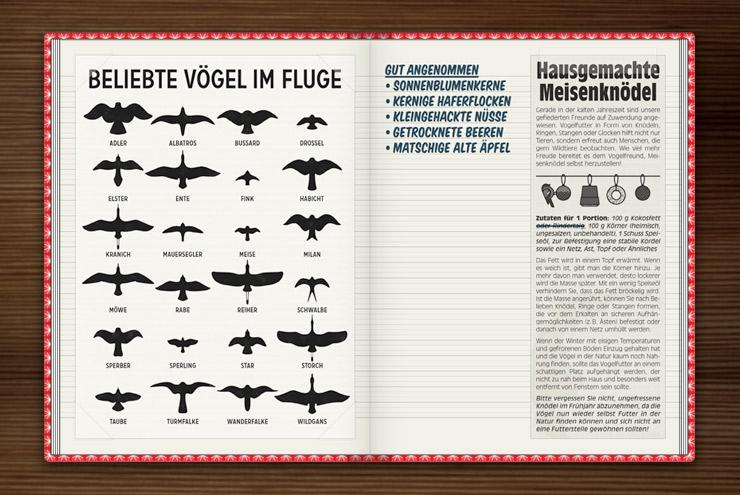 Infografik zur Bestimmung heimischer Vögel im Fluge anhand ihrer Silhouetten im Lily Lux Notizbuch
