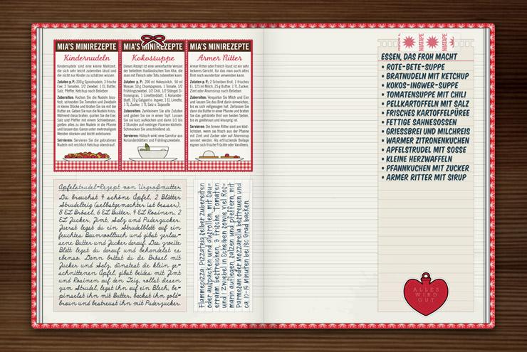 Rezepte zum Herzerwärmen und Besserfühlen wie Kindernudeln mit Ketchup, Kokosuppe oder Arme Ritter wie bei Oma im Lily Lux Notizbuch
