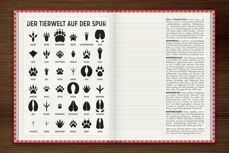 Infografik zur Bestimmung von Tierspuren, den Spuren heimischer Tiere, im Buch Lily Lux Notizbuch