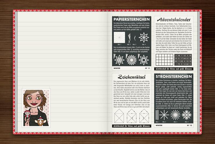 Anleitung zum Basteln von weihnachtlichen Sternchen aus Papier oder Stroh, Adventskalendern und dem Haus vom Nikolaus im Buch Lily Lux Notizbuch