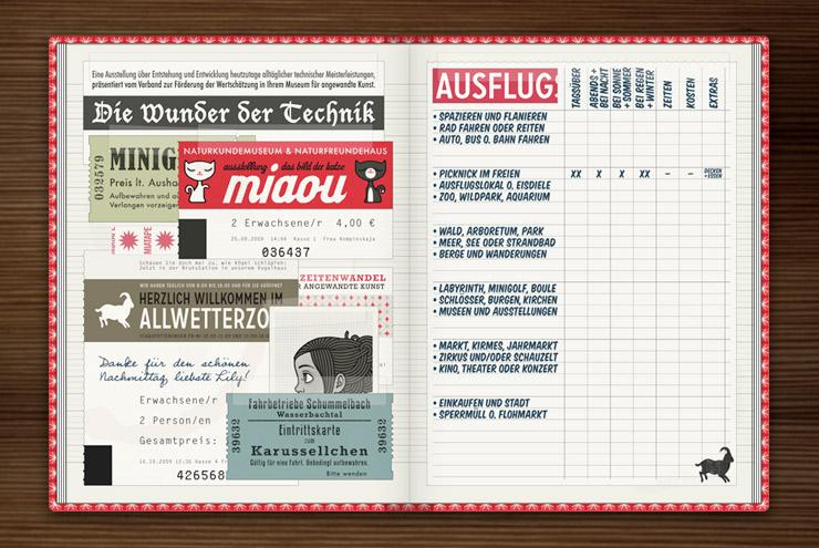 Sammelalbum für Ausflüge mit Eintrittskarten, Passfotos, Rechnungen und Zettelchen im Buch Lily Lux Notizbuch von Iris Luckhaus und Matthias Klesse
