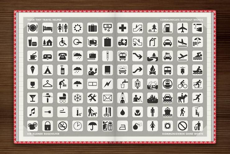 Reisehelfer mit kleinen Icons zur Verständigung und Übersetzung für Fremdsprachen im Ausland und zum Kommunizieren ohne Worte im Lily Lux Notizbuch