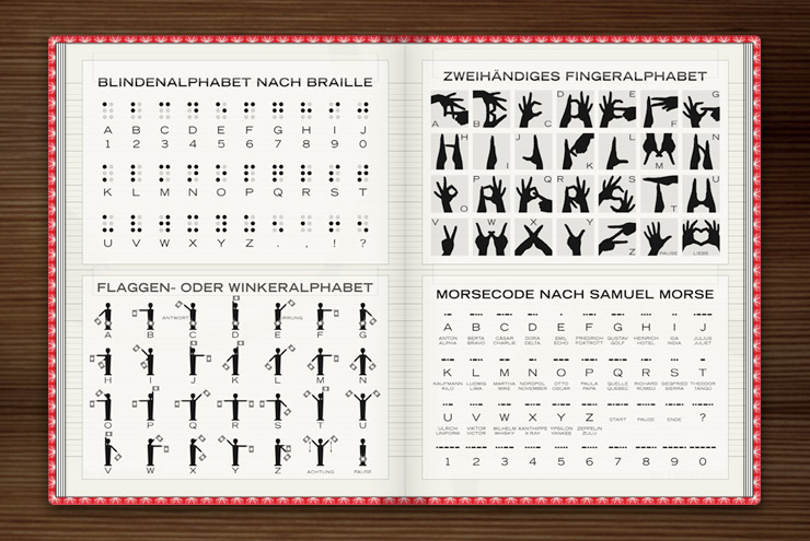 Grafische Anleitungen für Alphabete wie Handalphabet, Winkeralphabet, Braille und Morsecode im Buch Lily Lux Notizbuch