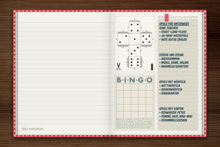 Anleitung und Zettel für Würfel, Bingo und weitere Spiele im Lily Lux Notizbuch