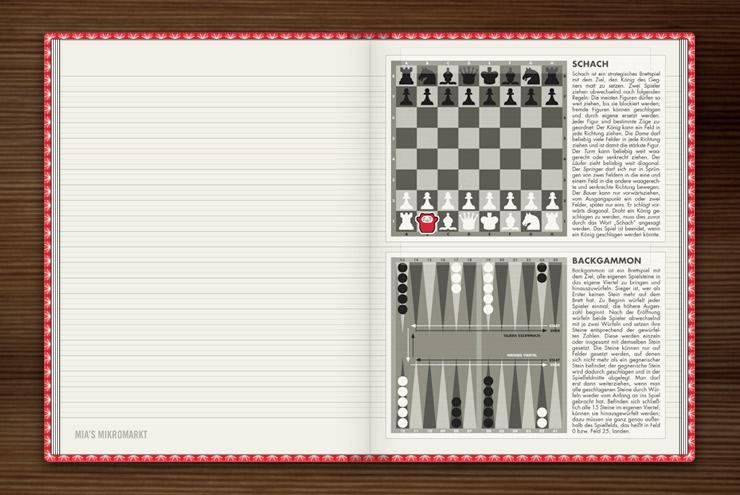 Grafische Anleitung zum Spiel von Schach und Backgammon im Lily Lux Notizbuch