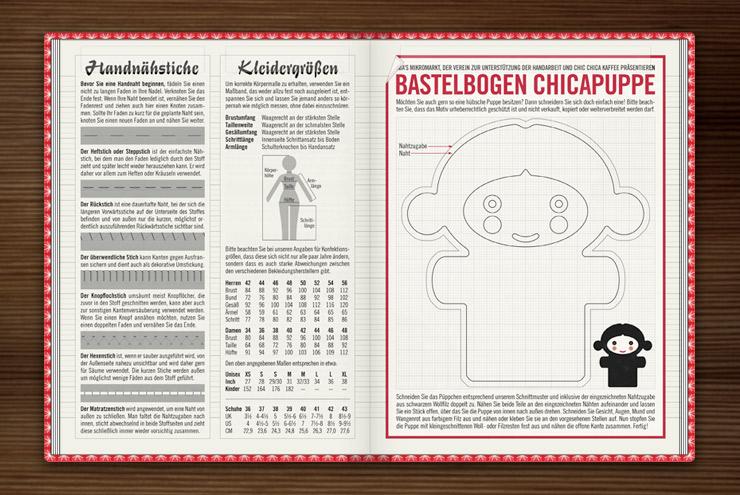 Bastelbogen mit Schnittmuster und Anleitung zum Nähen einer kleinen Chica Puppe, Handnähstiche und Kleidergrößen im Lily Lux Notizbuch
