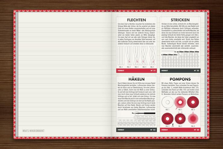 Anleitung für Handarbeiten wie Häkeln, Stricken, Pompoms drehen oder Flechten im Buch Lily Lux Notizbuch