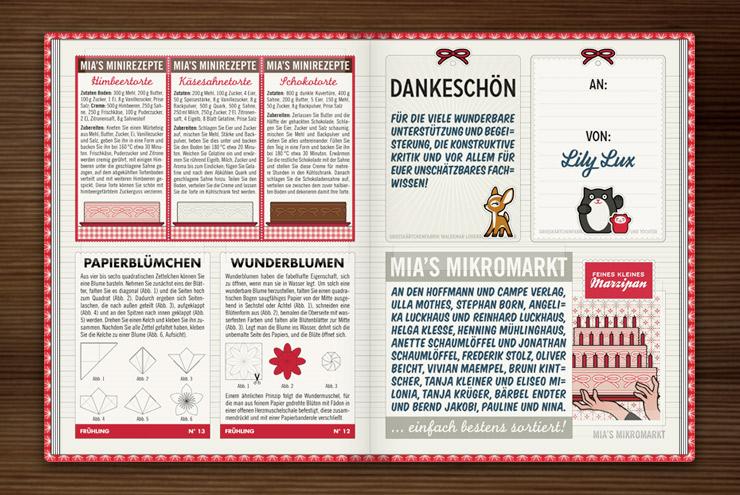 Danksagung, Rezepte für Torten und Anleitung für Wunderblumen und Papierblümchen im Lily Lux Notizbuch von Iris Luckhaus und Matthias Klesse