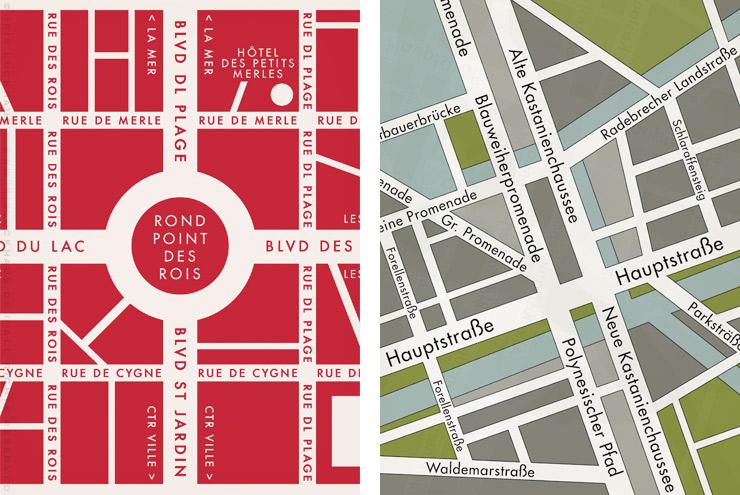 Illustration von zwei kleinen Landkarten oder Stadtplänen für Lily Lux