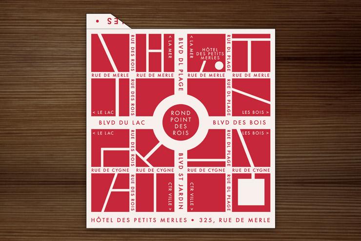 Grafik Design für ein Retro Streichholzbriefchen mit der Landkarte oder dem Stadtplan einer fiktiven französischen Kleinstadt für Lily Lux