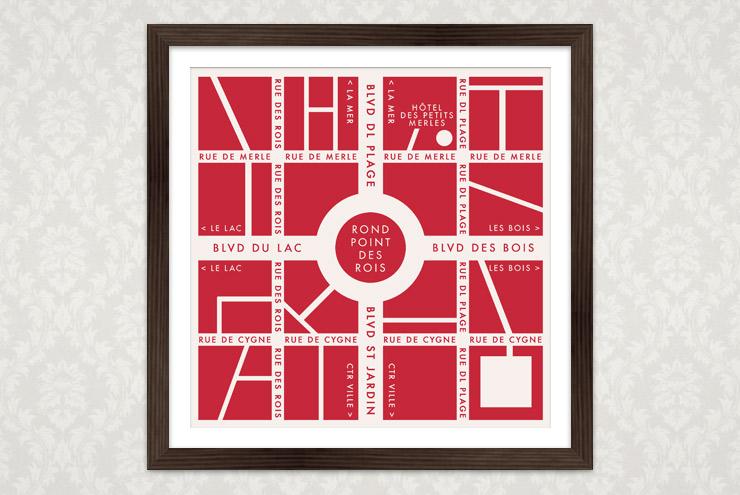 Poster mit der illustratierten Landkarte oder dem Stadtplan einer fiktiven französischen Kleinstadt für Lily Lux
