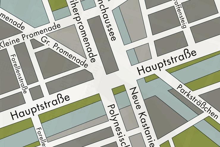 Ausschnitt aus der Landkarte oder dem Stadtplan oder dem Plan einer deutschen Kleinstadt am Wassr für Lily Lux