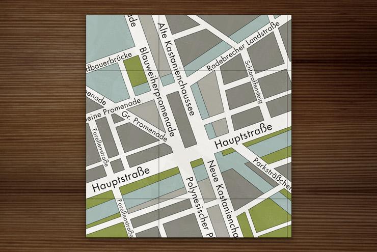 Grafik Design für die Landkarte oder dem Stadtplan einer deutschen Kleinstadt am Wasser für Lily Lux