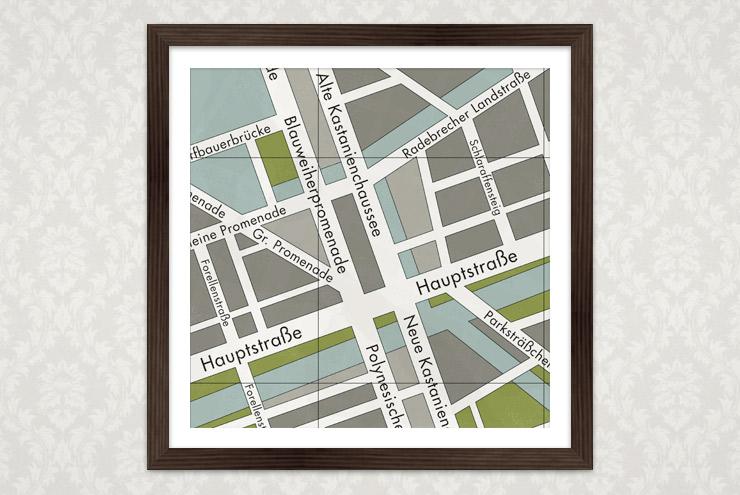 Poster Landkarte oder Stadtplan einer deutschen Kleinstadt am Wasser für Lily Lux