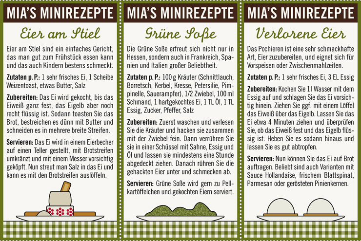 Rezepte mit Eiern zu Ostern wie Eier am Stiel, Grüne Soße oder Verlorene Eier für Lily Lux