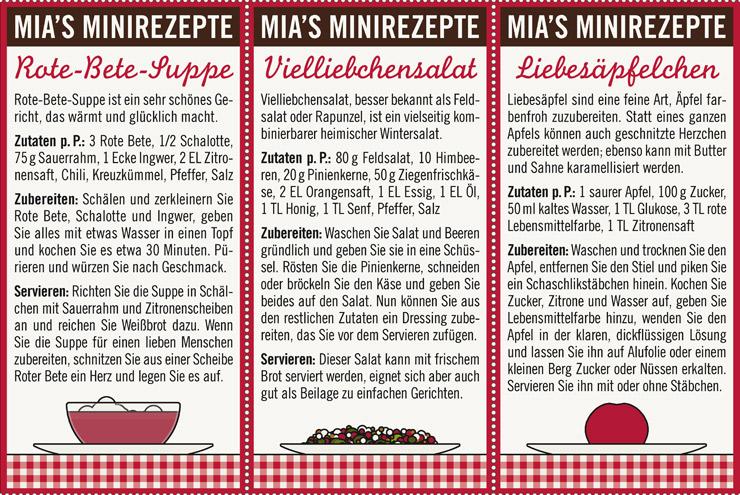 Rezepte zum Valentinstag für Verliebte wie Rote-Bete-Suppe mit Herz, Vielliebchensalat mit Rapunzel oder Feldsalat und Himbeeren oder Liebesäpfel für Lily Lux