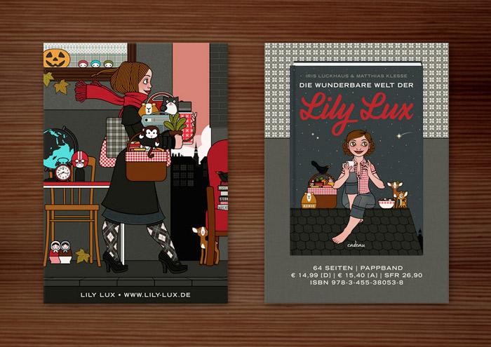 Magnetische Karte als Werbung für Lily Lux mit der Zeichnung eines Mädchens, das auf dem Flohmarkt oder Sperrmüll auf der Straße Dinge, Taschen, Lampen, Tassen, Sessel und Figuren findet und mitnimmt