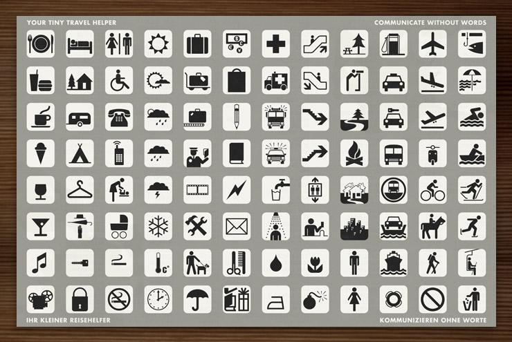 Reisehelfer mit kleinen Icons zur Verständigung und Übersetzung für Fremdsprachen und zum Kommunizieren ohne Worte für Lily Lux