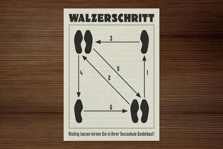 Illustrierte Infografik im Retro-Look der Tanzschule mit einer einfachen Anleitung zum Walzerschritt als Anzeige