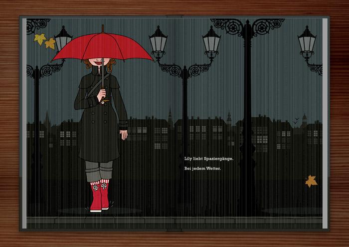 Zeichnung von einem Mädchen beim Spaziergang mit Mantel, Gummistiefeln und rotem Schirm bei Regen und Dunkelheit in der Stadt im Buch Die wunderbare Welt der Lily Lux