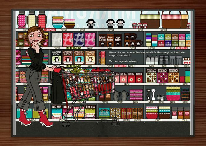 Zeichnung von einem Mädchen beim Einkaufen im Supermarkt mit Einkaufswagen vor Regalen mit Produkten wie Thermoskannen, Picknickkörben, Cornflakes, Müslischalen, Kaffee, Meisenknödeln und Gebäck im Buch Die wunderbare Welt der Lily Lux