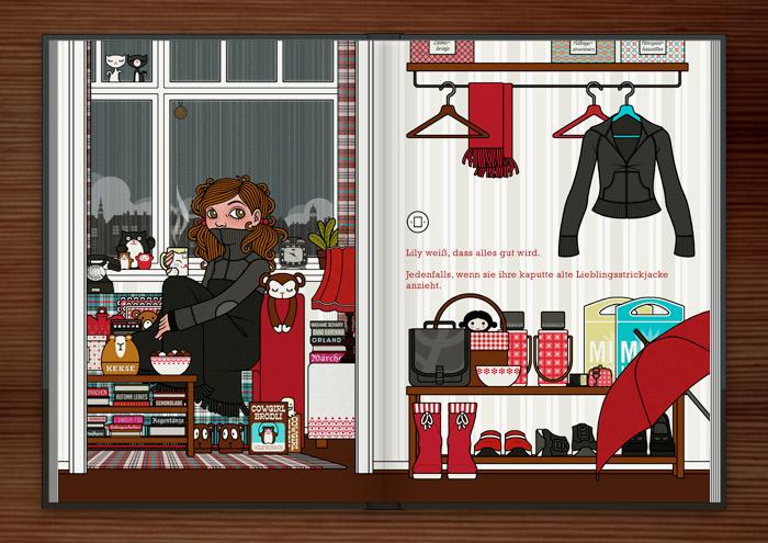 Zeichnung von einem Mädchen bei Ihrer Zuflucht vor Weltschmerz, auf dem Sofa mit Tee, Hörspiel, Strickjacke und Wolldecke, im Buch Die wunderbare Welt der Lily Lux