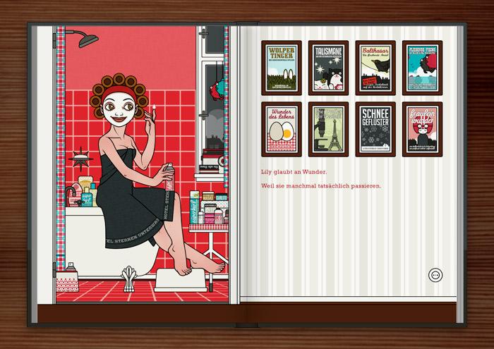 Zeichnung von Mädchen in Badetuch, Gesichtsmaske und Lockenwicklern, das bei der Körperpflege auf dem Badewannenrand im roten Badezimmer sitzt und über die Wunder der Kosmetik staunt, im Buch Die wunderbare Welt der Lily Lux
