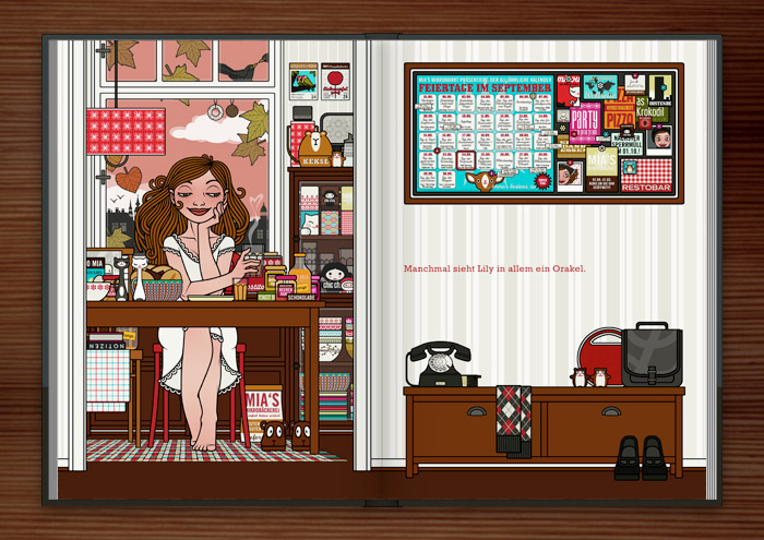 Zeichnung von einem Mädchen, das im Nachthemd am Küchentisch mit Kaffee, Müsli und Blättern Orakel für die Liebe und das Glück erfindet, im Buch Die wunderbare Welt der Lily Lux