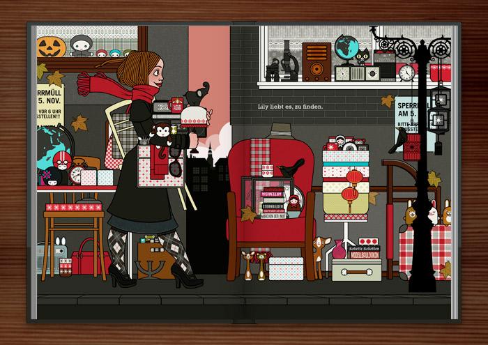 Zeichnung eines Mädchens, das auf dem Flohmarkt oder Sperrmüll Dinge, Taschen, Lampen, Tassen und Figuren findet und mitnimmt, im Buch Die wunderbare Welt der Lily Lux