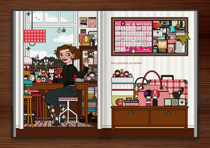 Zeichnung eines Mädchens, das am Küchentisch in der Küche gefundene Dinge und Stofftiere näht, klebt und repariert, im Buch Die wunderbare Welt der Lily Lux