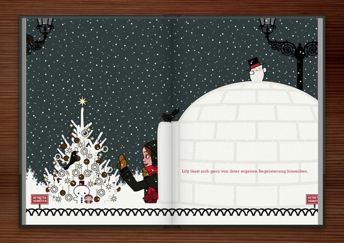Zeichnung von einem Mädchen, das sich im Schnee vor lauter Begeisterung einen Iglu gebaut hat und nun mit einer Amsel einen Tannenbaum mit Meisenknödeln schmückt, im Buch Die wunderbare Welt der Lily Lux