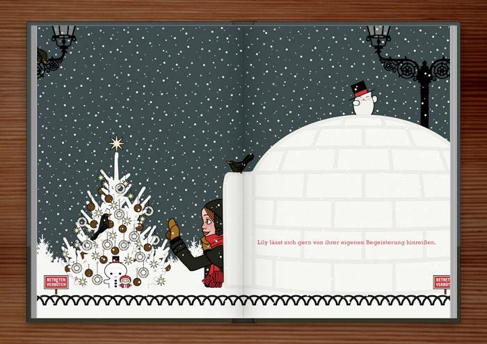 Zeichnung eines Mädchens, das sich von seiner Begeisterung für Schnee hat hinreissen lassen, einen Iglu zu bauen und nun einen Weihnachtsbaum im Park für Amseln und Singvögel mit Meisenknödeln schmückt, im Buch Die wunderbae Welt der Lily Lux