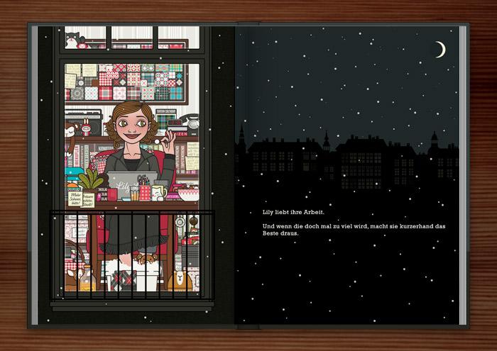 Zeichnung von einem Mädchen, das spät in der Nacht am Schreibtisch am Macbook oder Laptop arbeitet und dabei einen gemütlichen Sessel, Fußbad, Schokolade, Pralinen und Tee genießt, im Buch Die wunderbare Welt der Lily Lux