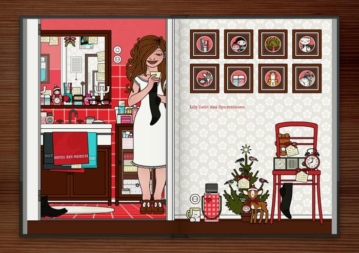 Zeichnung von einem Mädchen, das im Nachthemd mit einer Herrensocke und einem Zettel in der Badezimmertür steht und nach weiteren Spuren ihres Liebsten sucht, im Buch Die wunderbare Welt der Lily Lux