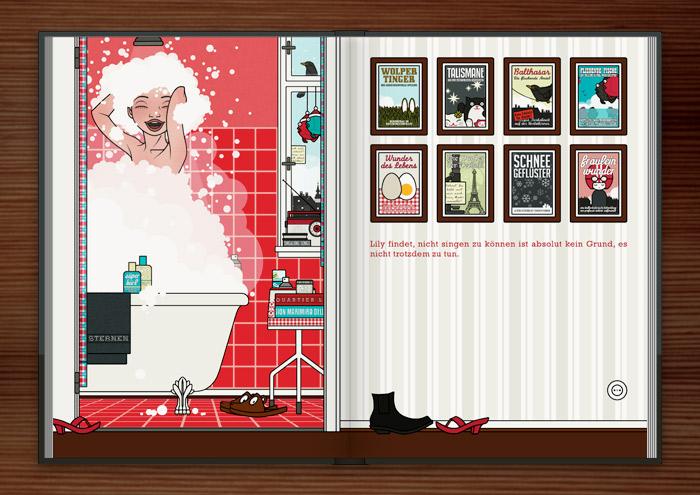 Ausschnitt aus Zeichnung von Mädchen beim Singen unter der Dusche mit viel Schaum in Haar und Badewanne im roten Badezimmer im Buch Die wunderbare Welt der Lily Lux
