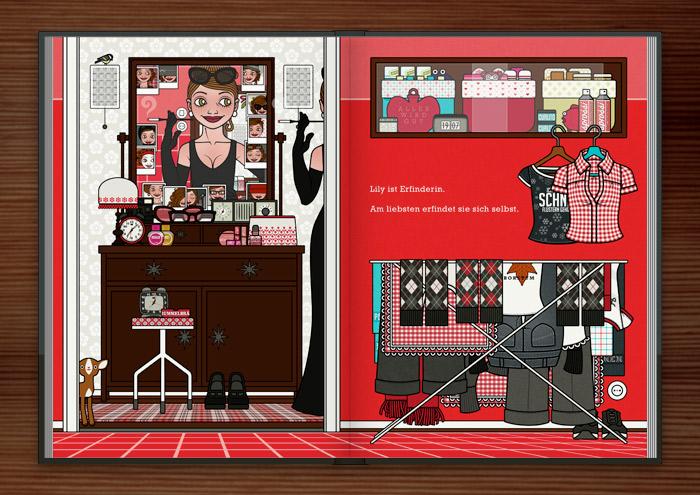 Zeichnung von einem Mädchen, das sich vor dem Spiegel neu erfindet und als Dame im schicken schwarzen Abendkleid mit eleganten Handschuhen wie Holly Golightly eine mondäne Zigarettenspitze hält, im Buch Die wunderbare Welt der Lily Lux