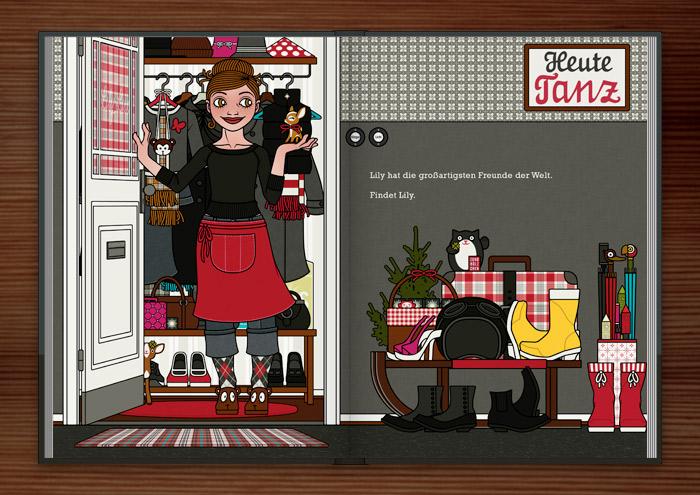 Zeichnung von einem Mädchen, die in Schürze an der Wohnungstür Gäste zu Feier, Essen oder Party empfängt und ein kleines Reh mitgebracht bekommt, im Buch Die wunderbare Welt der Lily Lux
