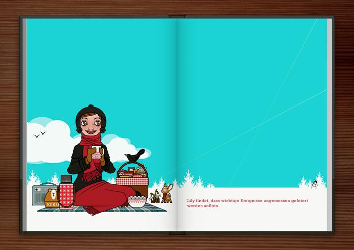 Zeichnung eines Mädchens, die zur Feier des ersten Schneeglöckchens ein Picknick im Schnee veranstaltet, im Buch Die wunderbare Welt der Lily Lux
