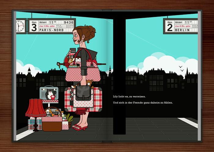 Zeichnung von einem Mädchen am Bahnhof, das mit viel Gepäck, Taschen, Koffern, Schirm, Lampen, Radio, Hocker und Figuren auf die Reise im Zug nach Paris wartet, im Buch die wunderbare Welt der Lily Lux