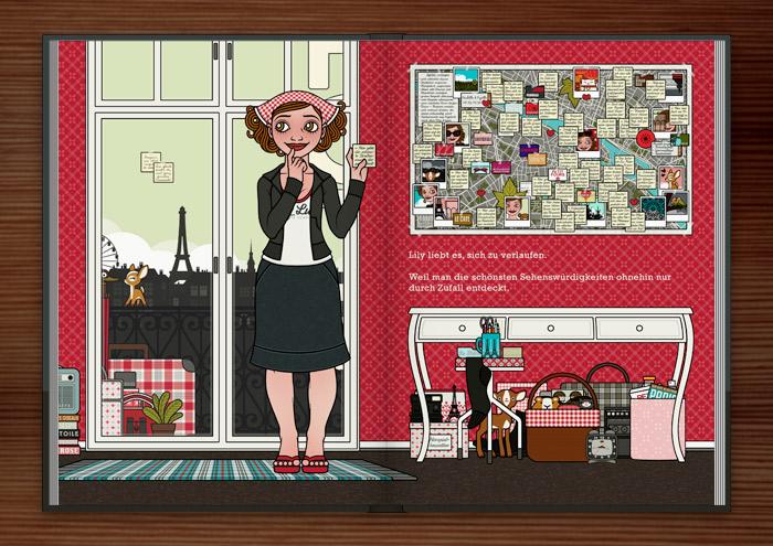 Zeichnung von einem Mädchen, das im Hotelzimmer in Paris den Reiseführer wegwirft und eigene Sehenswürdigkeiten, die sie beim Verlaufen gefunden hat, auf Zetteln auf einen Stadtplan klebt, im Buch Die wunderbare Welt der Lily Lux